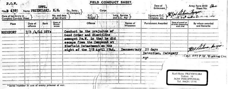Conduct Sheet of Elmfield P.O.W. Escapee - 1946