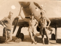 Gilford man Baillie Eccles on left of picture, together with friends from 243 Squadron RAF. Photograph taken Ambala, India 1944.