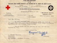 Letter from British Red Cross to Mr J Eccles, Moyallon, Gilford.