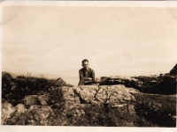 Young soldier from Belgian 4th Infantry Brigade, billeted at Gilford, Co Down photographed at Co Down coast. (1945)