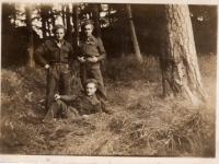 Men from Belgian 4th Infantry Brigade, billeted and photographed at Gilford Castle grounds, Co Down. (1945)