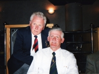 Louis Renard, Belgium (left) and Ronnie Beattie, Gilford, Co Down, enjoy an evening together in the late 1990\'s. Louis was stationed in Gilford, Co Down with the Belgian 4th Infantry Brigade in 1945.