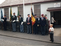 Belgian 4th Infantry Brigade Colour Party outside Royal British Legion, Banbridge, late 1990\'s. Left of Belgium Colour Party, Louis Renard, previously stationed in Gilford, 1945.
