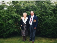 Beaulah and Baillie Eccles (formerly RAF) at Royal British Legion celebrations, Banbridge. Since the war Beaulah and Baillie and their families continued to entertain and visit many of the Belgian soldiers who were stationed in Gilford during 1945.