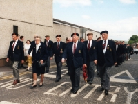 Royal British Legion parade, Banbridge, late 1990\'s. Foreground: members of Belgian 4th Infantry Brigade, formerly stationed in and around Banbridge/Gilford 1945.
