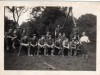 Men from 297 Coy at work while stationed at Gilford Castle, Co. Down. Frank Melville (Dundee) centre front row (wearing helmet). (1943)
