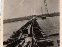 Completed Bridge across the Rhine built by some of the Royal Engineers, previously stationed at Gilford Castle Co Down. (1945)