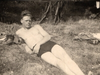 Frank Melville relaxing after a swim
