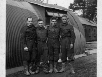 Men from 297 Coy Royal Engineers beside Nissan Hut in grounds of Gilford Castle, Co Down. (1943)