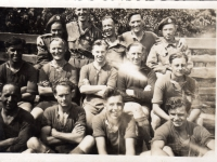 A football team from 583 Coy Royal Engineers (Germany). 2nd left, front row, Freddie French, originally from Gravesend, Kent. (1945)