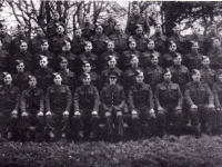Platoon of men from 583 Coy Royal Engineers photographed whilst encamped at Gilford Castle, Co Down. (1943)