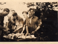 Tea and sandwiches for men from 583 Coy Royal Engineers whilst in Germany. Freddie French, Gilford, at left of photograph. (1945)