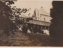 "View of Castle."" Inscribed on back: ""Part of castle from woods."