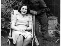 Eduard Gaillard, originally from Belgium, who met his wife Sadie Hamill (seated) whilst he was stationed in Gilford, N. Ireland with the Royal Engineers during WWII. The Engineers who were in Gilford for about three years were training in Northern Ireland in preparation for their return to Europe in 1944.
