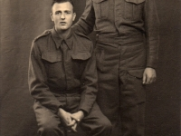 Joseph Conerney (standing), Gilford and friend 11th British Light Ambulance Unit, Royal Army Medical Corps soon after war started. Later the unit assisted in Belsen Concentration Camp in 1945.