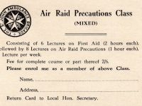 Invitation card - originally belonging to George Higgins, Gilford Mill secretary. George would have been one of the many staff at the mill expected to attend the Air Raid Precautions Classes in Banbridge. This page relates to the War Gas CHLORINE which causes choking of oedema of the lungs.