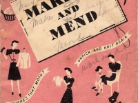 One of the many booklets published during the war, encouraging re-using worn-out clothing and household articles, by altering, mending or recycling. The booklet also shows basic knitting and sewing.