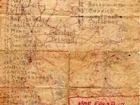 Reverse side of the Image of map found in former hut used by German POW\'s at Elmfield camp Gilford Co Down. The map shows major ports in Ireland and it is believed may have been drawn to be used in the event of a possible prison escape. The map was found resting on one of the flanges of a Nissan Hut which was purchased by Mr Frank Doyle, Gilford when the POW camp was eventually closed.