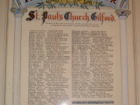 Roll of Honour plaque situated in ST Paul's Parish Church Gilford, Co Down. The tablet shows the names of all those from the Parish who served in the forces during the 1939-1945 World War. The tablet also shows detail of the relevant forces, etc.