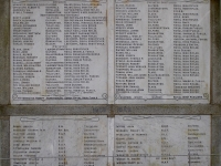 Image of the War Memorial situated in Gilford Co Down, showing the names of those from Gilford and surrounding district who lost their lives during WWII.