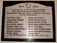 Second World War Memorial Tablet sited in All Saints Parish Church,Tullylish, Gilford Co Down. The tablet is inscribed with the names of those men from the Parish who lost their lives during WWII.