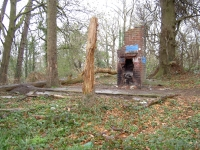 Fireplace remaining from army camp at Wall Road Gilford, within the Gilford Castle estate.