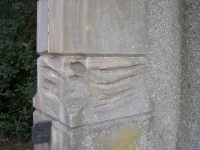Close up view of bayonet markings on the front entrance pillar at Gilford Castle demesne, situated on the Banbridge Road.