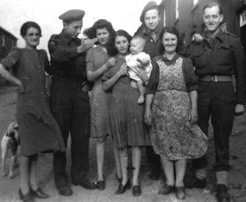 The McManus Family with some Belgian Soldiers at Keady Row