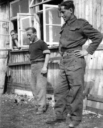 Norman Greenfield (right) and friend playing quoits at Leros