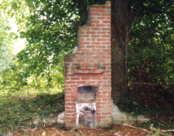 A remaining fireplace from 582 Coy. Camp