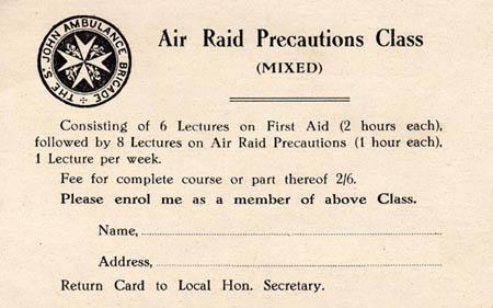Air Raid Class Enrolment Card
