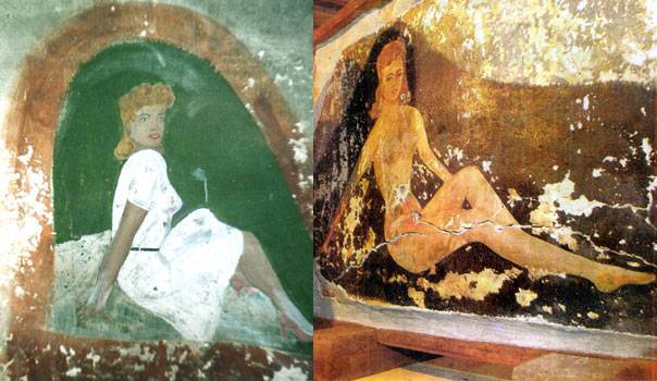 Two of a number of wall paintings from demolished buildings at Stramore farm