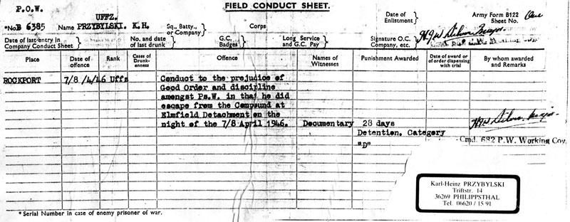 Conduct Sheet of Elmfield P.O.W. Escapee - 1946
